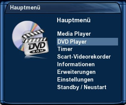 Dreambox DM 7025+ - Hauptmenü - DVD Player