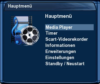Dreambox DM 7025+ - Hauptmenü - MediaPlayer