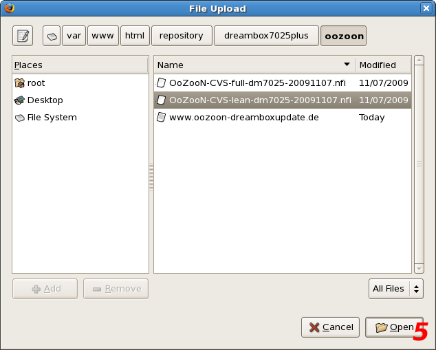 Dreambox DM7025 Web Interface - File Upload - Seite 3