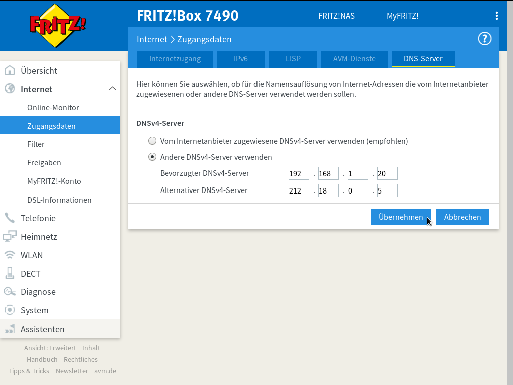 M Net Fritzbox 7490 Update