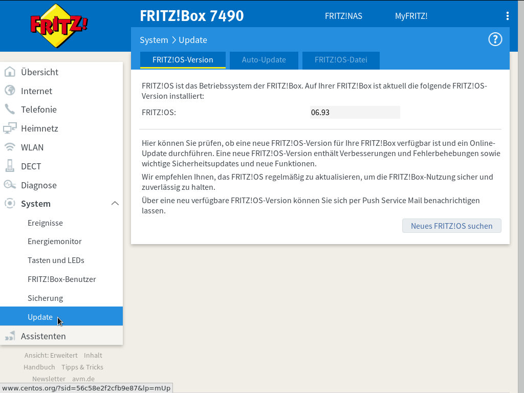 FRITZ!OS - System - Update - FRITZ!OS-Version