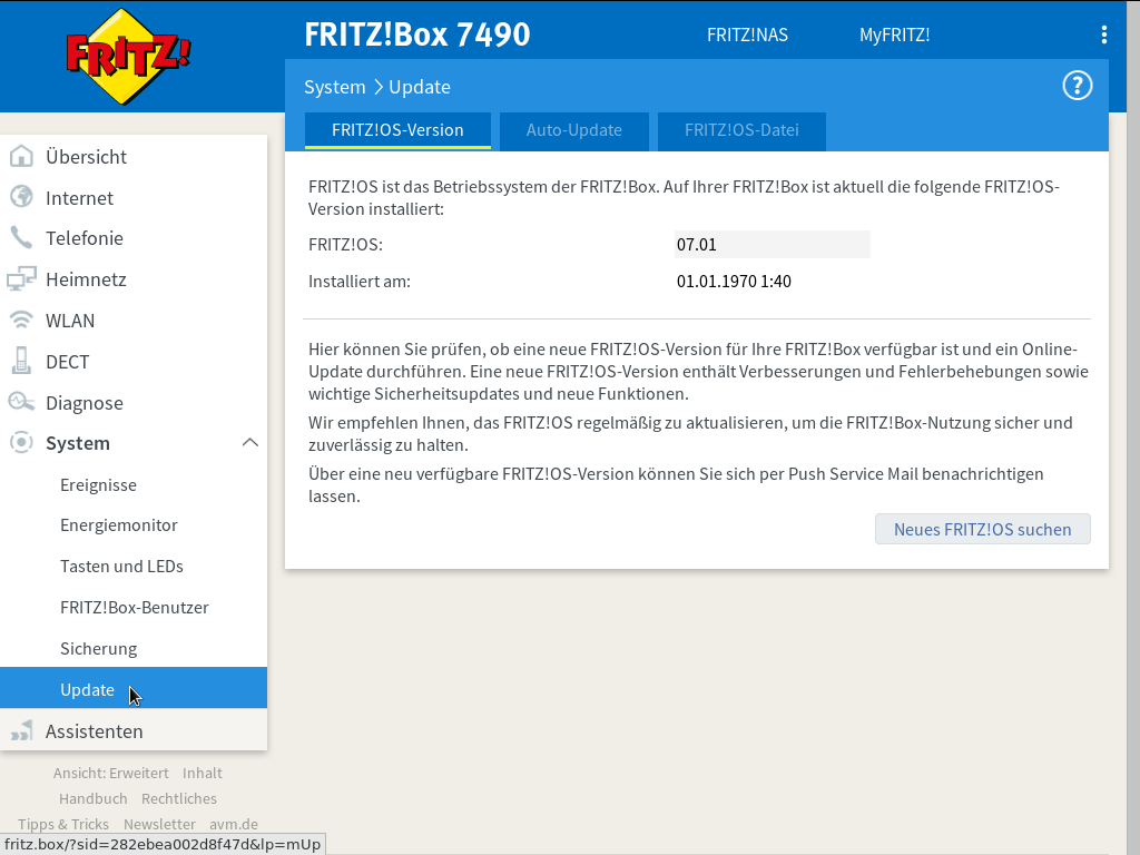 FRITZ!OS - System - Update - FRITZ!OS-Version - Nach Firmware-Update