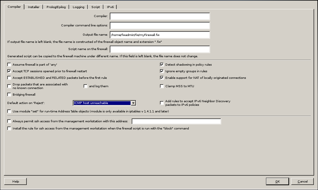 Firwall Builder - Firewall Settings - Compiler