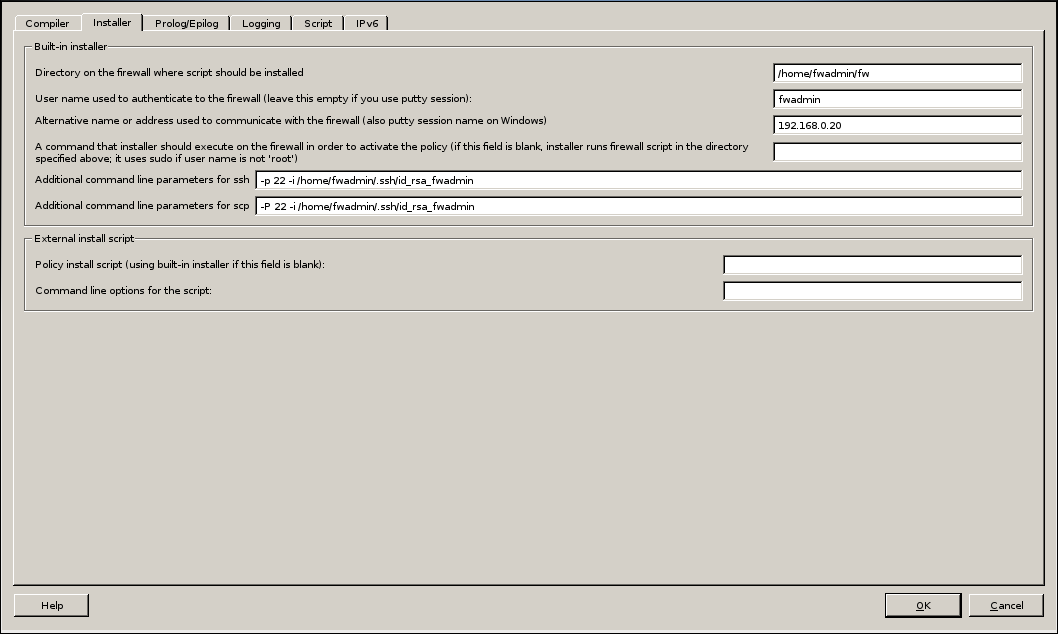 Firwall Builder - Firewall Settings - Installer - SCP/SSH