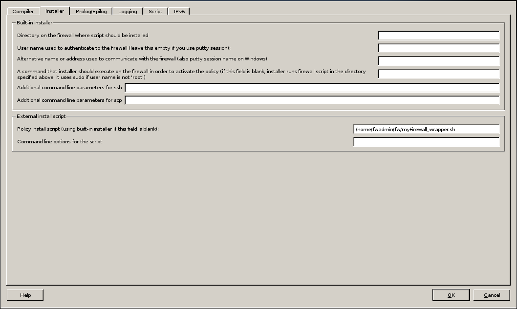 Firwall Builder - Firewall Settings - Installer - SCRIPT