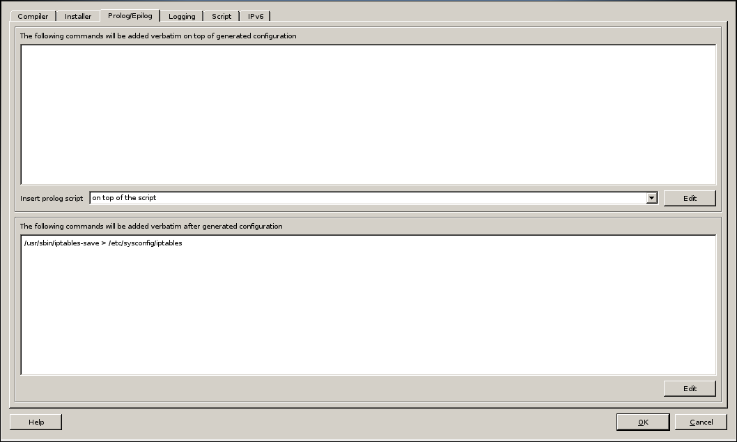 Firwall Builder - Firewall Settings - Prolog/Epilog