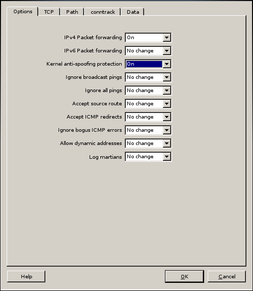 Firwall Builder - Host OS Settings - Options