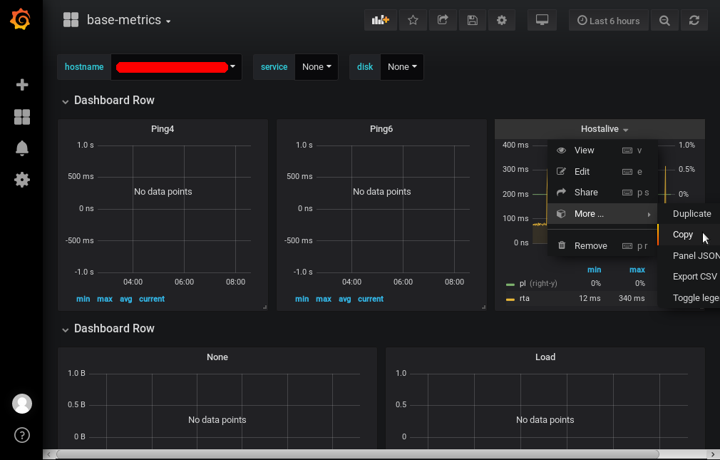 Grafana - Dashboard: base-metric - Hostalive - More - Copy