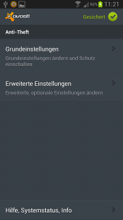App - avast! - Anti-Theft - Einstellungen