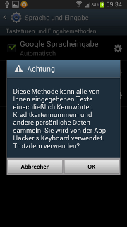 App - Hacker's Keyboard - Configure input methods - Warnung