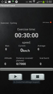 Personal Coach - Exercise screen
