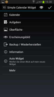 App - Simple Calendar Widget - Einstellungen
