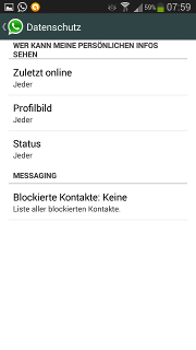 App - WhatsApp - Menü - Einstellungen - Account (Konto) - Standard
