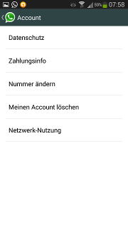 App - WhatsApp - Menü - Einstellungen - Account (Konto)