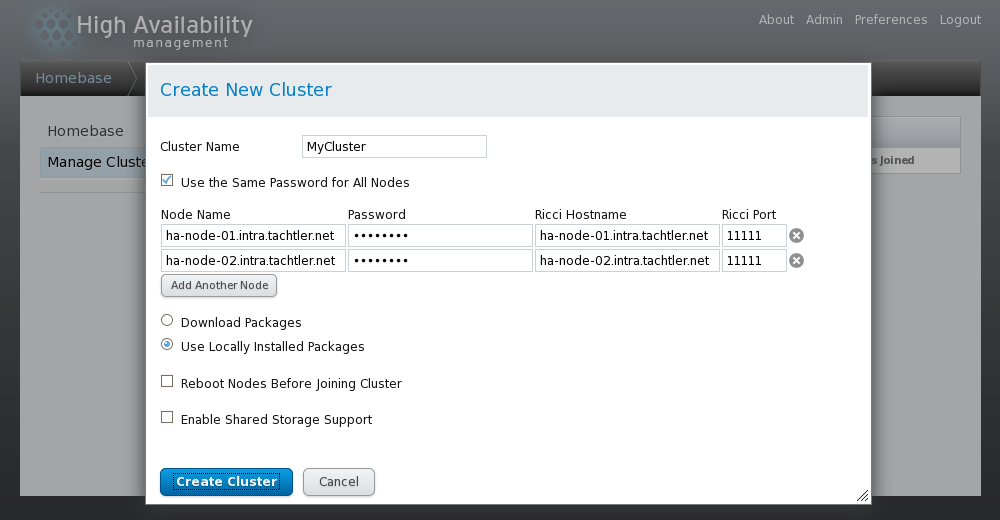 Conga - High Availability management - Manage Clusters - Create New Cluster