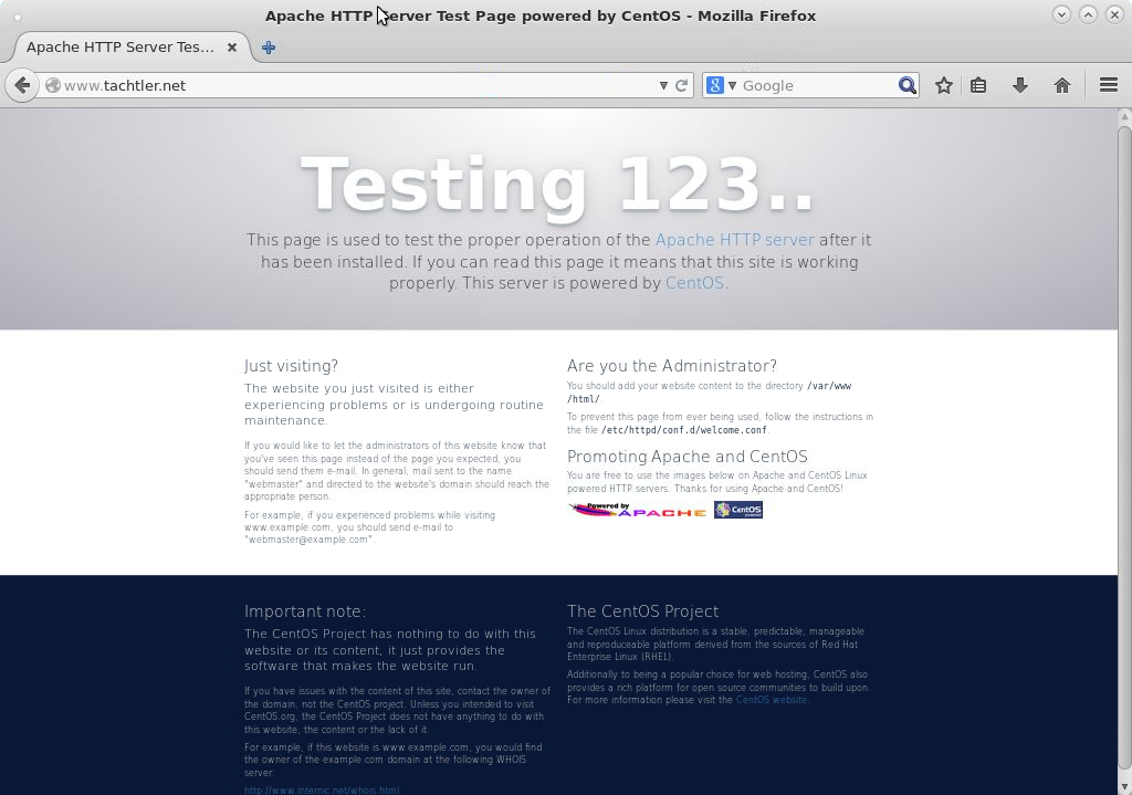 CentOS-7 Apache HTTP Server Test Page Powered by CentOS - Mozialla Firefox