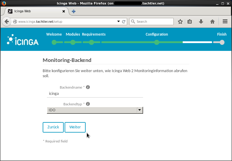 Icinga Web 2 - Setup Monitoring-Backend