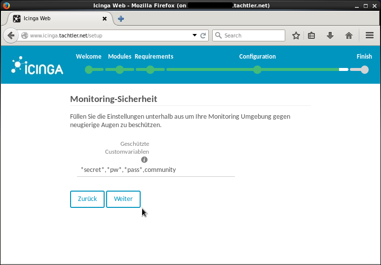 Icinga Web 2 - Setup - Monitoring-Sicherheit