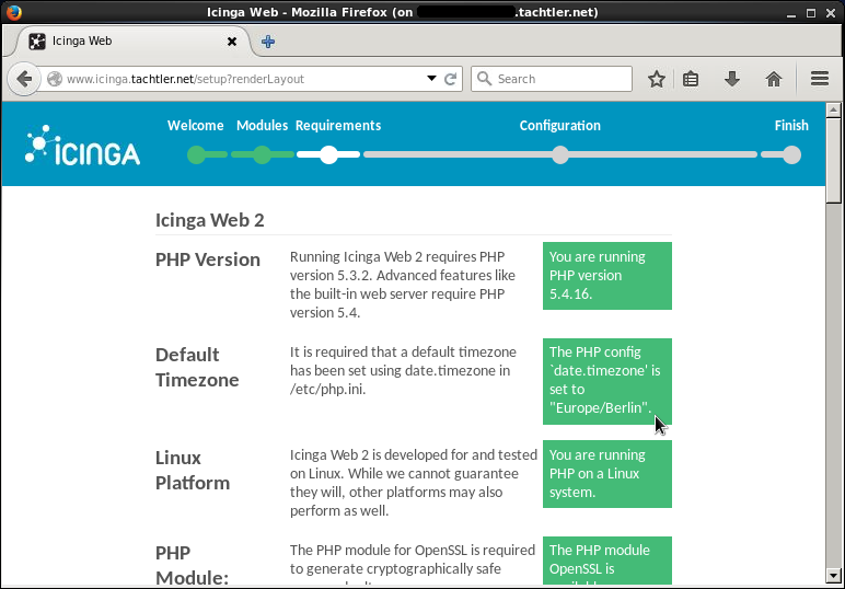 Icinga Web 2 - Setup Requirements - Seite 1