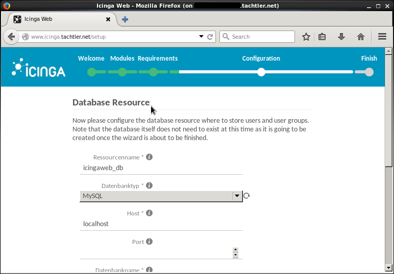 Icinga Web 2 - Setup Configuration - SQL Database Resource - Seite 1