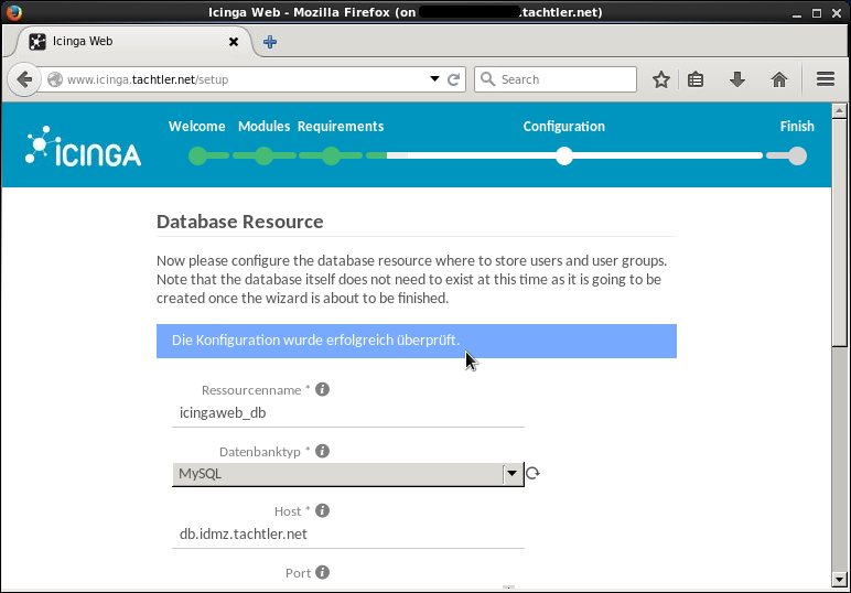 Icinga Web 2 - Setup Configuration - SQL Database Resource - Seite 3