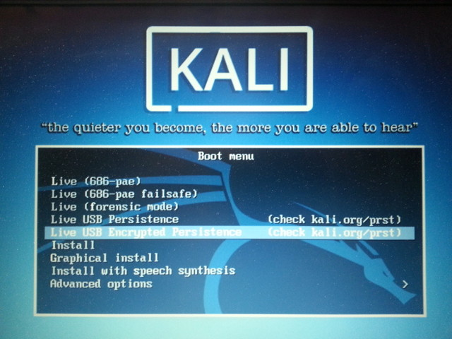 Kali Linux - Live USB Encrypted Persistence