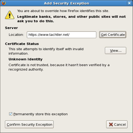 Add Security Exception Certificate
