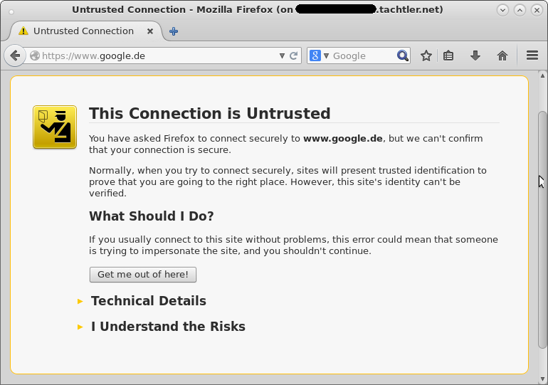 Mozilla Firefox Browser - This Connection is Untrusted