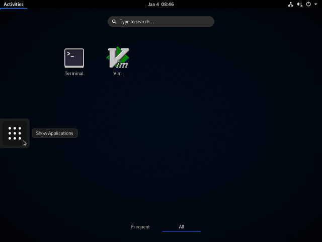 ArchLinux - GNOME - Activities App-Screen - bereinigt