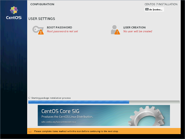 CentOS 7 - DVD - Begin Installation