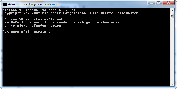 VU+ (VU Plus) Duo² - Windows7 - Start - Zubehör - Eingabeaufforderung - telnet