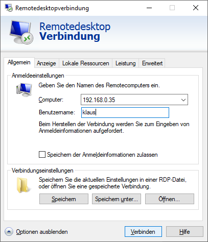 Microsoft™ Remote Desktop Client - Start - Optionen einblenden